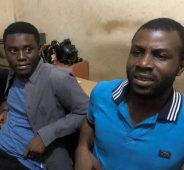 Gidado Yushau, Editor NewsDigest and Adebowale Adekoya, a Professional Webmaster in Police Station after their arrest on an investigative report