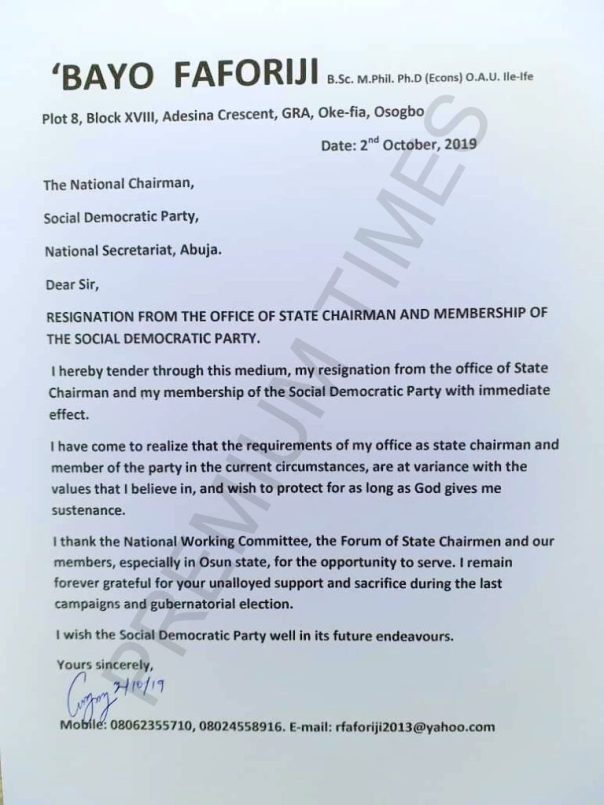 Letter of resignation by the Osun state SDP chariman.