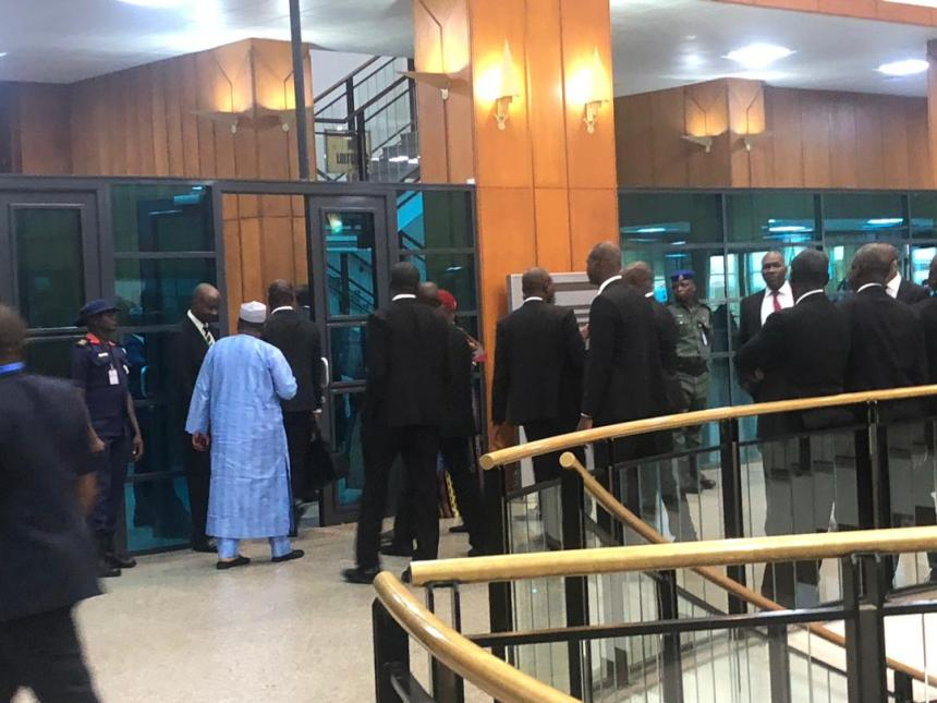 Heavy presence of security personnel at the National Assembly ahead of the presentation of the 2020 budget by President Muhammadu Buhari.