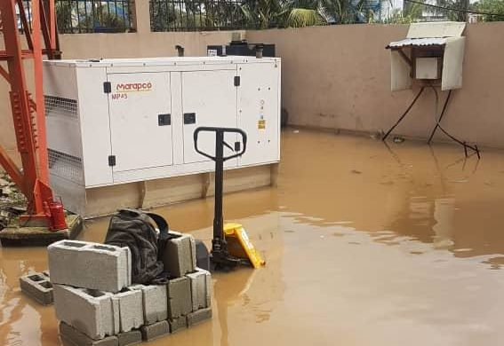 Core TV Station ravaged by flood.