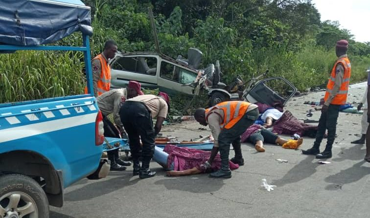 FRSC officials at the scene of the accident on the expressway