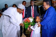 Buhari arrives South Africa. [PHOTO CREDIT: Presidency Twitter Handle]
