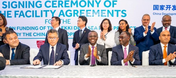 PIX 5202 L-R: Vice President of China Harbour Engineering Company (CHEC), Mr. Wu Di; Deputy General Manager, China Development Bank, Mr. Zhang Aijun; Lagos State Governor, Mr. Babajide Sanwo-Olu; Chairman, Lekki Port Board of Directors, Mr. Biodun Dabiri and CEO of Lekki Port, LFTZ Enterprise, Mr. Navin Nahata during the signing of Agreement for the funding of Lekki Deep Seaport project between the Chinese Development Bank and Lekki Free Trade Zone Company Limited, at the Eko Hotel and Suites, Victoria Island, on Wednesday, October 23, 2019.