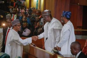 President Muhammadu Buhari (left), President of the Senate and Chairman of the National Assembly, Ahmad Ibrahim Lawan and Speaker of the House of Representatives, Rt (Hon.) Femi Gbajabiamila, during the 2020 Budget presentation by the President at the National Assembly on Tuesday, 8th October, 2019.