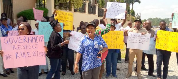 staff members of the Police Service Commission (PSC), on Wednesday, staged a protest at the Federal High Court, Abuja