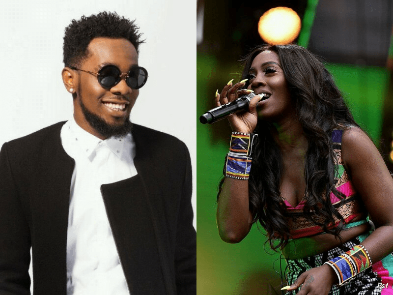Nigerian music stars Tiwa Savage and Patoranking