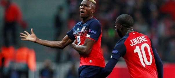 Victor Osimhen celebrates after scoring for Lille against Chelsea