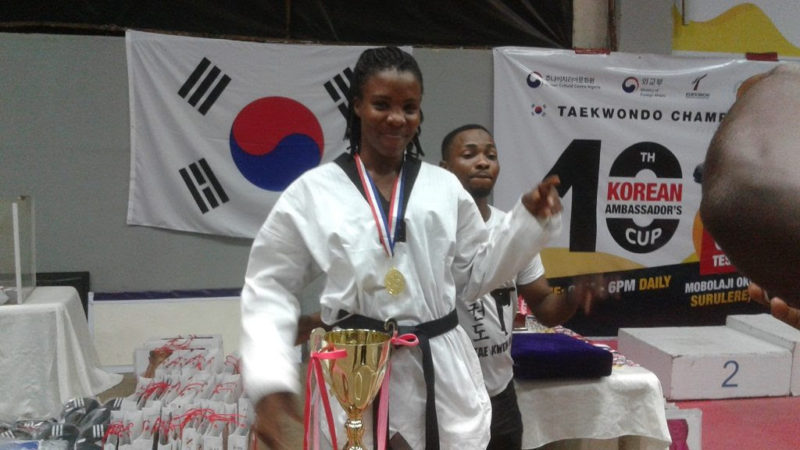 Chidinma Otuadinma, gold medallist in the -73kg female category at the just-concluded 10th Korean Ambassador's Taekwondo Championships.