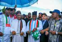 Yahaya Bello commissioning Okene – Kuroko -Ehika-Ikaturu-Itakpe roads in Kogi State. Photo: Kogi State Government