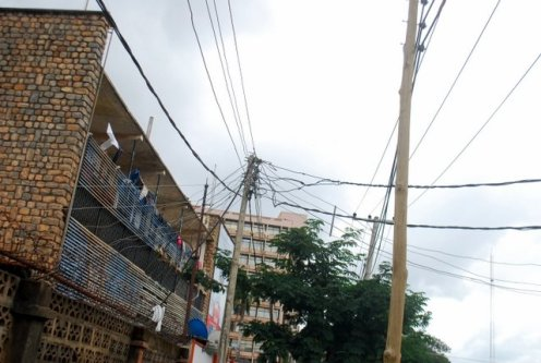 A criss cross of illegally connected wires along Bank Road, adjacent Kaduna Electric headquarters in Kaduna