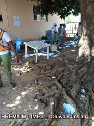 What was left after the hoodlums carted away electoral materials at PU 016 Lokoja Club at GRA.