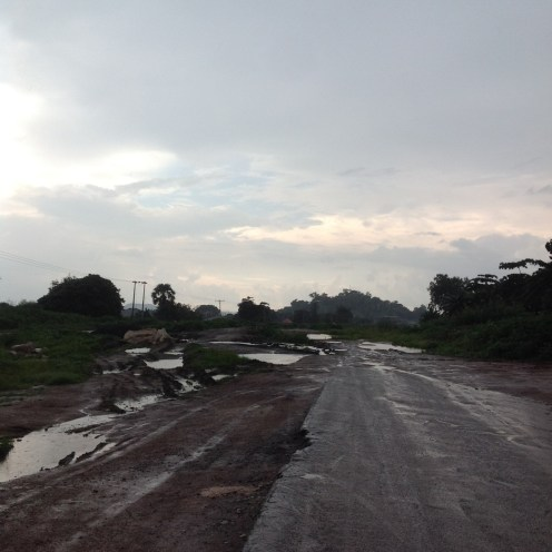 Damaged portions between Ajaokuta and Okene, with the lane overgrown with weeds