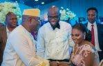 Gov Kayode Fayemi of Osun State attends Mr Ayo Fayose's son's wedding in Lagos, Western Nigeria. NAN