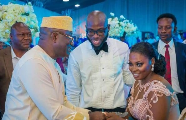 Gov Kayode Fayemi of Osun State attends Mr Ayo Fayose's son's wedding in Lagos, Western Nigeria. NAN
