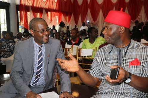 L-R, Dr. Aliyu Gumel Gambo, Director General NACA, Senator Chukwuka Utazi, Chairman Senate Committee on AIDS, Tuberculosis and Malaria during world AIDS Day 2019 and Official launch of the Undetectable Equals Untransmittable Campaign in Nigeria, at NAF Conference Centre Jahi, Abuja.