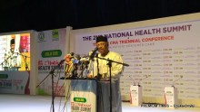 Health minister, Osagie Ehanire delivering an open remark for President Buhari in his absence.