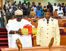Lagos State Governor, Mr. Babajide Sanwo-Olu, presenting the Y2020 Budget Estimate to the Lagos House of Assembly at the Hallowed Chamber of the Assembly Complex, Alausa, Ikeja, on Friday, November 8, 2019.