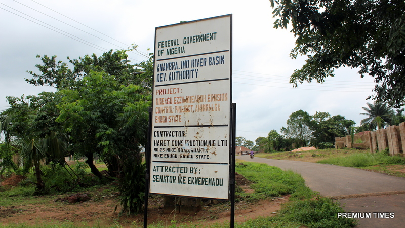 signage indicating the project at Obeagu-Ezza-Ndeaboh erosion project