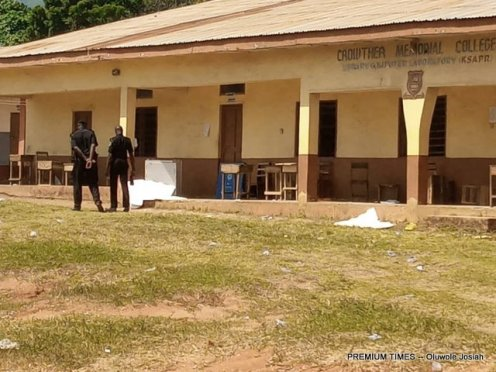 The situation at the Crowther Memorial College Lokoja after the visit of the ballot box thieves.