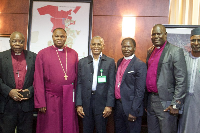 Most Reverend Buba Lamido, Archbishop of the Province of Kaduna, (second left) led a group of Anglican Bishops from the North-West to visit Malam Nasir El-Rufai at the Sir Kashim Ibrahim House, Kaduna