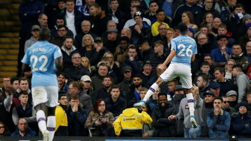 GOALLLL... Mahrez fires Manchester City in front [PHOTO CREDIT: Reuters on Google]