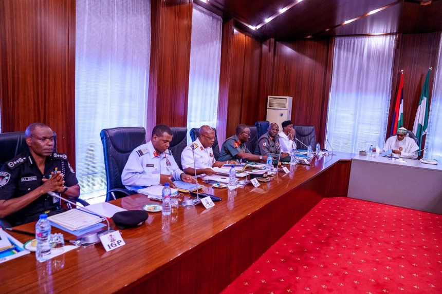 President @MBuhari receives Security Briefings from Service Chiefs and other heads of the security agencies today at the Presidential Villa in Abuja. [PHOTO: Presidency]