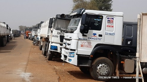The trucks blocked from entering Nigeria at the Illela, Sokoto State, border, with Niger Republic