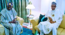 APC chieftain, Bola Tinubu with President Muhammadu Buhari (Photo Credit: Bashir Ahmad on Twitter)