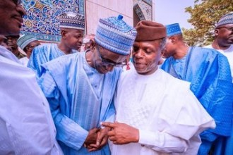 Nuhu Ribadu receives Prof. Yemi Osibanjo at his Son's wedding in Abuja [Photo: