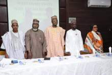 L-R: Managing Director, Galaxy Backbone Limited, Prof. Mohammed Abubakar; Executive Commissioner, Technical Services, Nigerian Communications Commission, Engr. Ubale Maska; Minister of Communications and Digital Economy, Dr. Isa Pantami; Director-General, National Information Technology Development Agency, Mr. Inuwa Abdullahi and Managing Director, Nigerian Communications Satellites Limited, and Dr. Abimbola Alale during the maiden Press parley by the ministry in 2020.