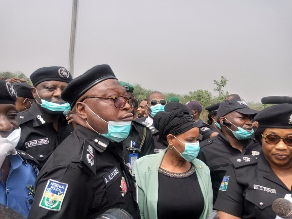 Police Officers at the site where the corpse was dumped