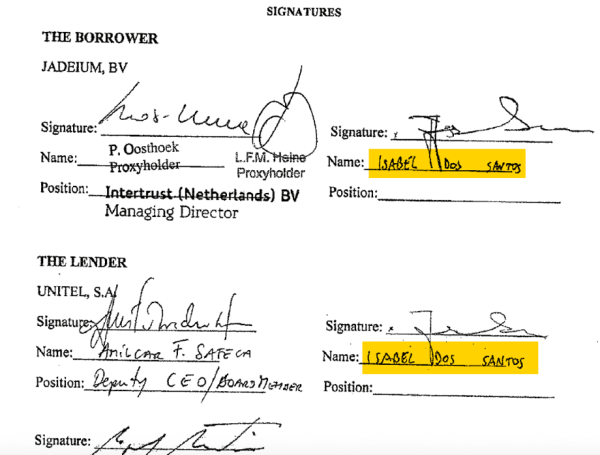 One document from Luanda Leaks showing Isabel dos Santos' signature as the lender and borrower.