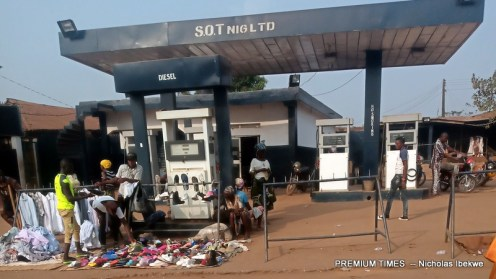 A filing station shut down in Idiroko border now occupied by street traders.