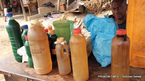 A physically challenged man selling fuel at Ajassor