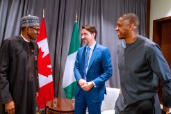 Today in Addis Ababa, Ethiopia: President Buhari and Canadian Prime Minister Justin Trudeau with Nigerian-born basketball executive, Masai Ujiri, who led the Toronto @Raptors to Victory at the 2019 NBA 🏀 Finals. [PHOTO CREDIT: Twitter handle of the Nigerian presidency]