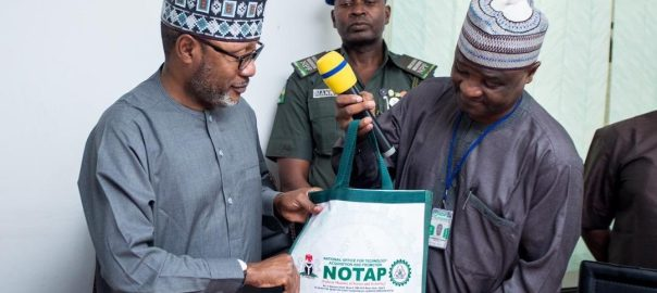 Hon. Minister of State for Science and Technology, Mohammed H. Abdullahi with NOTAP DG