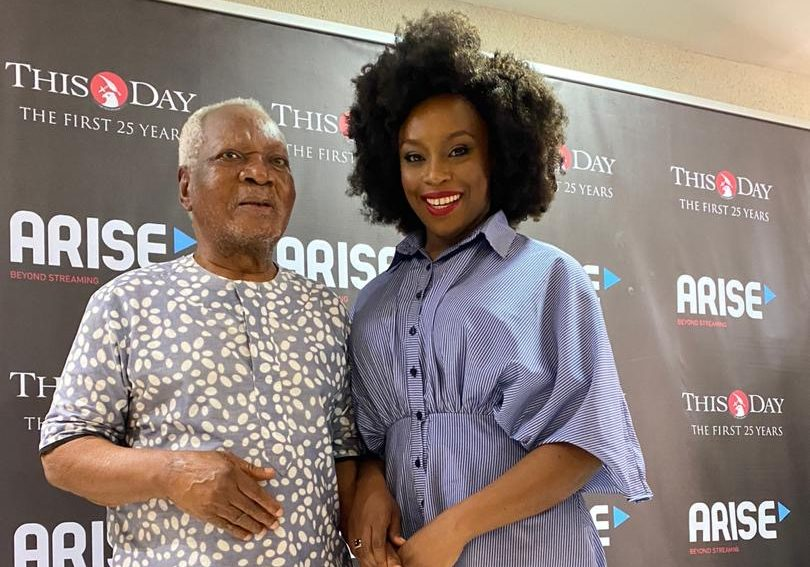 Eminent Nigerian writer J.P Clark presented Thisday The Woman of The Decade award to Adichie