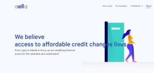 Screenshot of Aella Credit webpage a Nigerian fintech company.