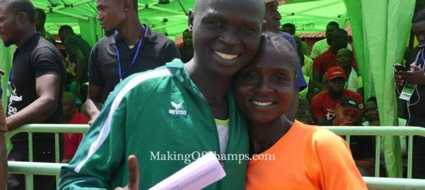 Running couple Emmanuel Gyang and his wife, Deborah Pam at the 2020 Access Bank Lagos City Marathon