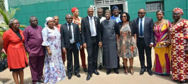 The Minister of Information and Culture, Lai Mohammed flanked by the DG, NTDC, Fororunsho Coker and others.