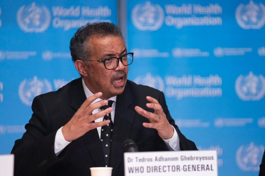 World Health Organisation (WHO) Director-General, Tedros Ghebreyesus at the coronavirus press conference in Geneva