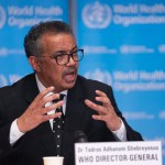 World Health Organisation Director-General, Tedros Ghebreyesus at the coronavirus press conference in Geneva