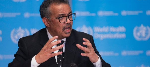 World Health Organisation (WHO) Director-General, Tedros Ghebreyesus at the coronavirus press conference in Geneva