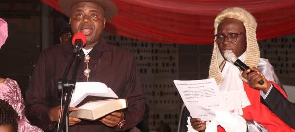 Mr Douye Diri taking his oath of office, Friday, as Bayelsa governor Photo credit_ Gabriel Inam