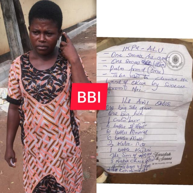 Mrs Grace Eze and the list of items demanded from her by Okwe community in Asaba, Delta state