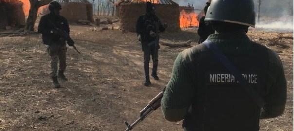 POLICE OPERATIONS AT ANSARU TERROR CAMP, KUDURU FOREST, BIRNIN GWARI [PHOTO: Twitter @Policeng]
