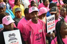 Runcie C.W. Chidebe, Executive Director, Project PINK BLUE leading the 2017 World Cancer Day Walk in Abuja. Photo_Blaise Itodo