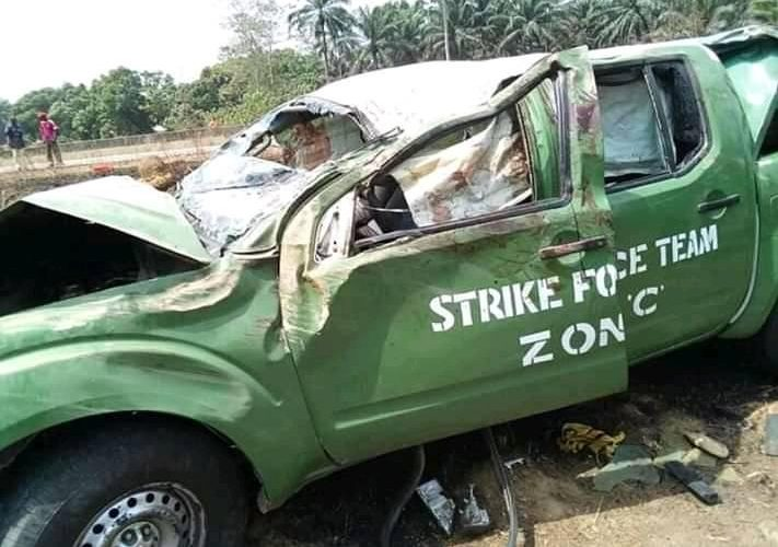 The badly damaged truck belonging to the Nigerian Custom Service