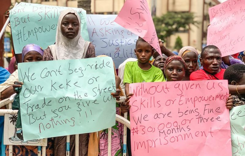 The protesters at the Lagos State Government House