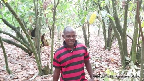 Edache Abel, a cocoa farmer.